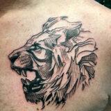 linework lion tattoo