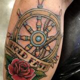 traditional ship wheel tattoo