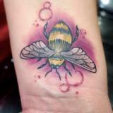 honeybee tattoo on wrist