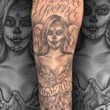 black and grey angel memorial tattoo