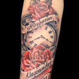rose and stopwatch memorial tattoo