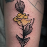 single yellow rose tattoo